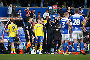 Leeds United midfielder Kemar Roofe (7) and Leeds United forward Jack Clarke (47) come on during the EFL Sky Bet Championship match between Birmingham City and Leeds United at St Andrews, Birmingham, England on 6 April 2019.