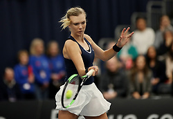 Great Britain's Katie Boulter in action against Hungary's Dalma Galfi during day three of the Fed Cup at Bath University.