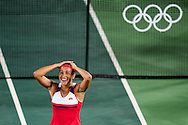 Monica Puig of Puerto Rico wins the Gold Medal in the Women's Tennis Singles on day eight of the XXXI 2016 Olympic Summer Games in Rio de Janeiro, Brazil.<br /> Picture by EXPA Pictures/Focus Images Ltd 07814482222<br /> 13/08/2016<br /> *** UK & IRELAND ONLY ***<br /> <br /> EXPA-EIB-160814-0013.jpg