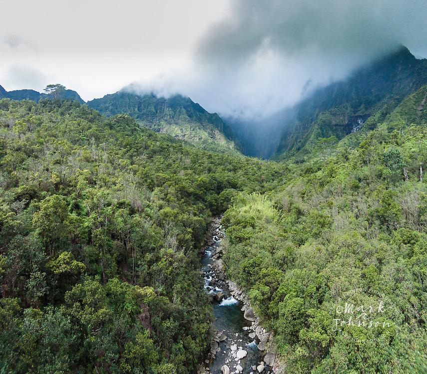 """Aerial photograph of the """"Blue Hole"""", Mt Waialeale, Kauai, Hawaii"""