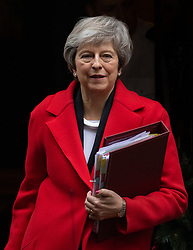 © Licensed to London News Pictures. 05/12/2018. London, UK. British Prime Minister Theresa May leaves 10 Downing Street. Later this morning the government will release legal advice received over Brexit this morning. MPs will vote on Mrs May's withdrawal deal on 11 December following five days of debating. Photo credit : Tom Nicholson/LNP