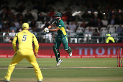Rilee Rossouw of South Africa pulls out of a short delivery during the 5th ODI match between South Africa and Australia held at Newlands Stadium in Cape Town, South Africa on the 12th October  2016<br /> <br /> Photo by: Shaun Roy/ RealTime Images