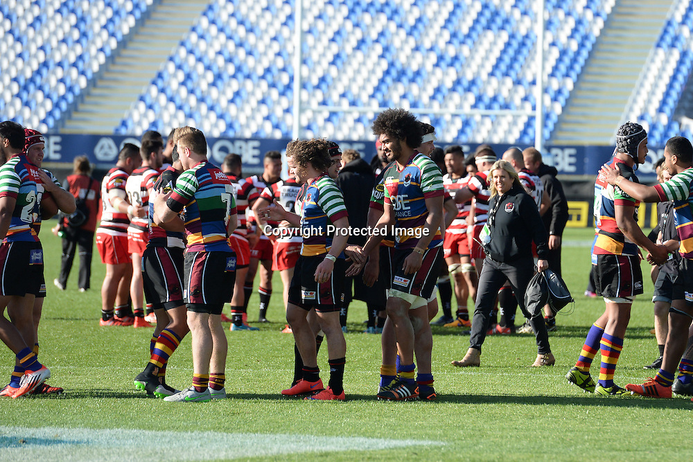 Players congragulate each other after their 28-20 victory during the ITM Cup match between North Harbour and Counties Manukau. QBE Stadium, Auckland, New Zealand. Saturday 12 September 2015. Copyright Photo: Raghavan Venugopal / www.photosport.nz