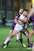 A Rovers player is tackled during the Betfred Super League match between Hull Kingston Rovers and Huddersfield Giants at the Hull College Craven Park  Stadium, Hull, United Kingdom on 21 February 2020.
