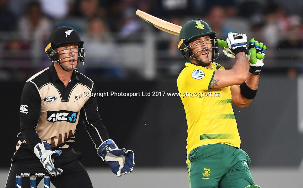 South African batsman and captain Faf du Plessis. International Twenty20 Cricket. New Zealand Black Caps v South Africa, Eden Park, Auckland, New Zealand. Friday 17 February 2017 © Copyright photo: Andrew Cornaga / www.photosport.nz