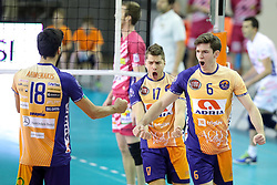 Diko Puric of ACH Volley Ljubljana and Maksim Buculjevic of ACH Volley Ljubljana celebrate during the volleyball match between ACH Volley Ljubljana and Arago de Sete at 2017 CEV Volleyball Champions League, Men, League 3rd Round, on November 16, 2016, in Hala Tivoli, Ljubljana, Slovenia.  Photo by Morgan Kristan / Sportida