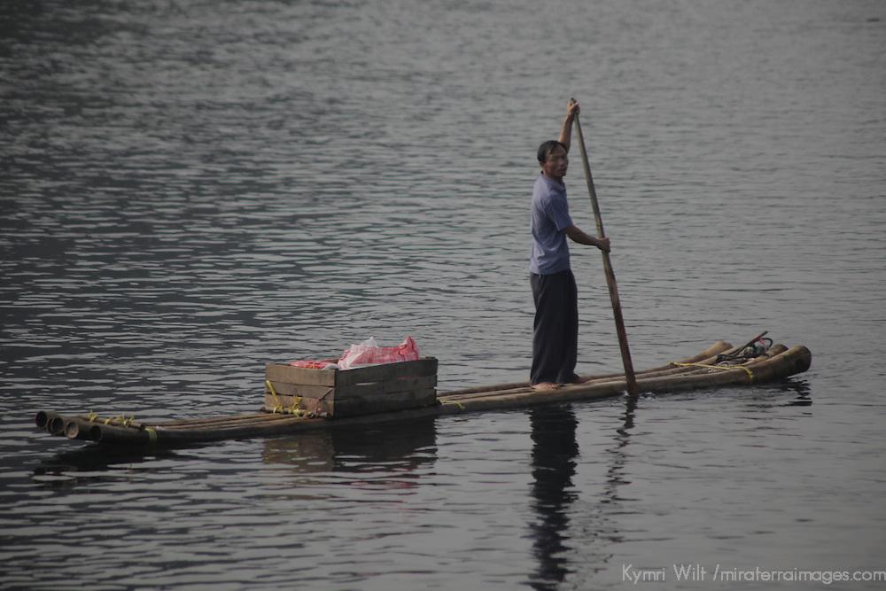 Asia, China, Guilin. Li River transport by raft.