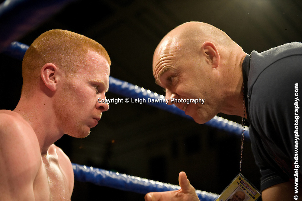 Liam Walsh defeats Jon Baguley (pictured with trainer) at York Hall, Bethnal Green 9th ocotber 2009. Frank Warren Promotions.Credit: ©Leigh Dawney Photography