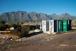 An ablution- and refuse area in Mountain View, an informal settlement in Jamestown, which is located in the Cape Winelands, one of the districts in the Western Cape that has been designated a hotspot area, in terms of people testing positive for COVID-19, Saturday, May 29, 2020. When South Africa moves down to Stage 3 of the nationwide lockdown on June 1st, hotspots areas will remain under stricter regulation and surveillance, per the latest government announcements. PHOTO: EVA-LOTTA JANSSON