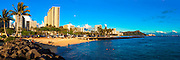 Waikiki skyline panorama with Diamond Head in the distance