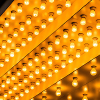Picture of theater lights with rows of lightbulbs on a theatre entrance. Also commonly known as casino and broadway lights.