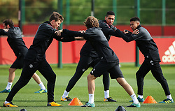 Victor Lindelof of Manchester United warms up with Chris Smalling and Daley Blind - Mandatory by-line: Matt McNulty/JMP - 11/09/2017 - FOOTBALL - AON Training Complex - Manchester, England - Manchester United v FC Basel - Press Conference & Training - UEFA Champions League - Group A