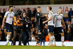 Ross Barkley of Everton congratulates Harry Kane of Tottenham Hotspur after Tottenham win 2-1 - Photo mandatory by-line: Rogan Thomson/JMP - 07966 386802 - 30/11/2014 - SPORT - FOOTBALL - London, England - White Hart Lane - Tottenham Hotspur v Everton - Barclays Premier League.