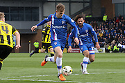 Gillingham midfielder Jake Hessenthaler strikes at goal during the Sky Bet League 1 match between Burton Albion and Gillingham at the Pirelli Stadium, Burton upon Trent, England on 30 April 2016. Photo by Aaron  Lupton.