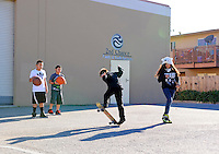 From left, Christian Miranda,11, Elmer Hernandez, 10 Jakob Marotta, 11, and Natalie Plancarte, 13, make good use of a sunny afternoon behind the building housing Second Chance and the Breadbox Recreation Center in Salinas.
