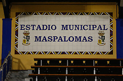 08.01.2014, Maspalomas, Gran Canaria, ESP, 1. FBL, FC Augsburg, Trainingslager, im Bild Estadio Municipal Maspalomas, Tafel an der Tribuene, // during the Trainingscamp of German Bundesliga Club FC Augsburg at the Maspalomas in Gran Canaria, Spain on 2014/01/08. EXPA Pictures © 2014, PhotoCredit: EXPA/ Eibner-Pressefoto/ Krieger<br /> <br /> *****ATTENTION - OUT of GER*****