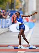 Gladys Cherono (KEN) reacts after winning the women's race in 2:20.23 during the 44th Berlin Marathon in Berlin, Germany on Sunday, September 24, 2017. (Jiro Mochizuki/Image of Sport)
