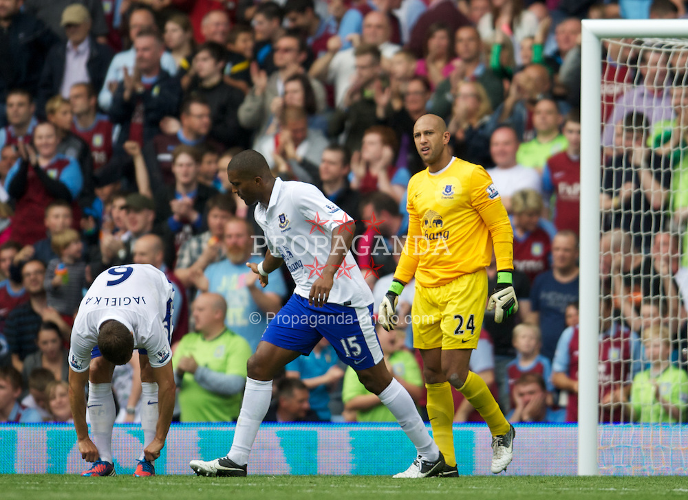 BIRMINGHAM, ENGLAND - Saturday, August 25, 2012: Everton's goalkeeper Tim Howard looks dejected as Aston Villa score a goal during the Premiership match at Villa Park. (Pic by David Rawcliffe/Propaganda)