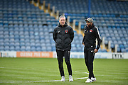 Leyton Orient manager, Andy Edwards and Leyton Orient Midfielder, Nigel Atangana (15) during the EFL Sky Bet League 2 match between Portsmouth and Leyton Orient at Fratton Park, Portsmouth, England on 14 January 2017. Photo by Adam Rivers.