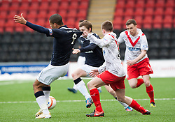 Falkirk's Lyle Taylor held by Airdrie United's Chris O'Neil..half time : Airdrie United 0 v  0 Falkirk, 30/3/2013..©Michael Schofield..