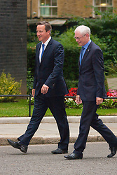 London, June 23rd 2014. Prime Minister David Cameron welcomes EU President Herman Van Rompuy to Downing street.