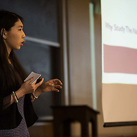 Annetta Yuanjun Li presenting at the Mount Holyoke College Senior Symposium, 4/8/16.