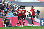 Marouane Fellaini of Manchester United celebrates his goal 0-1 during the The FA Cup semi final match between Everton and Manchester United at Wembley Stadium, London, England on 23 April 2016. Photo by Phil Duncan.