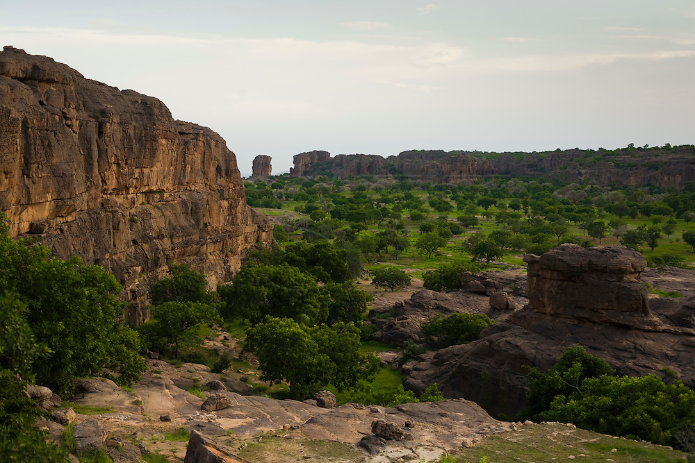 Landscape near Begnimato village in the Bandiagara Escarpment. The Dogon Country is the most visited part of Mali with tourists visiting its tipical  villages that can be located on the cliff, on the sandy plain or in the rocky plateau