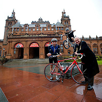 TV presenter Gethin Jones arrives in Glasgow to promote Skyride, an event aimed to get people out and about on their bikes. Gethin is riding between four major UK cities hosting Skyride events. He was joined outside Kelvingrove Museum by Competion Trials rider Duncan Shaw(centre)  from Inverness and the Lord Provost of Glasgow Bob Winter (right). Picture Christian Cooksey.