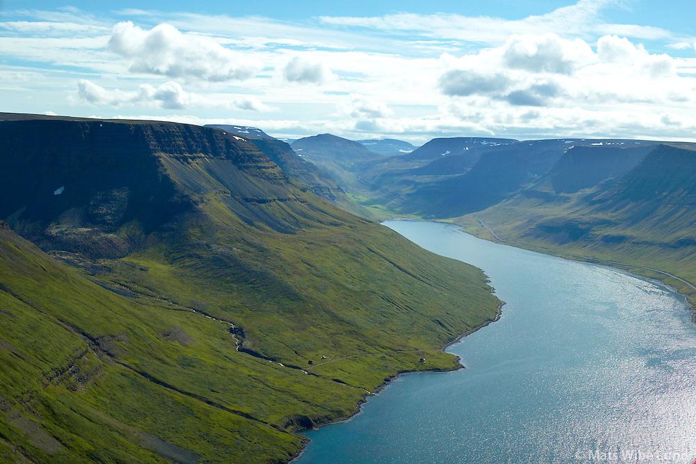 Selárdalur, Súgandafjörður séð til suðausturs, Ísafjarðarkaupstaður /.Selardalur on the northern side of Sugandafjordur, viewing southeast. Isafjardarkaupstadur