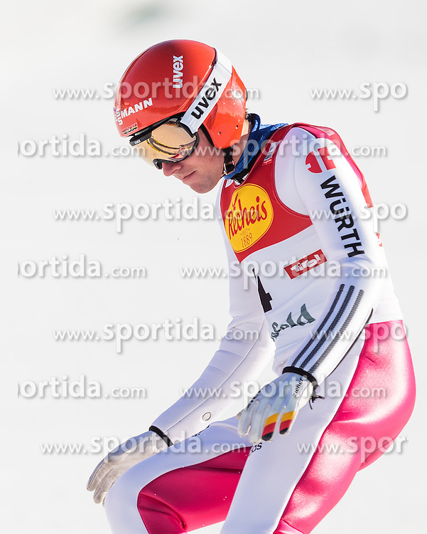 30.01.2016, Casino Arena, Seefeld, AUT, FIS Weltcup Nordische Kombination, Seefeld Triple, Skisprung, Wertungssprung, im Bild Johannes Rydzek (GER) // Johannes Rydzek of Germany reacts after his Competition Jump of Skijumping of the FIS Nordic Combined World Cup Seefeld Triple at the Casino Arena in Seefeld, Austria on 2016/01/30. EXPA Pictures © 2016, PhotoCredit: EXPA/ JFK