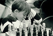 Michael Ferrante hangs his head after losing his match in the Topa Topa Elementary School Chess Tournament in Ojai, Calif.