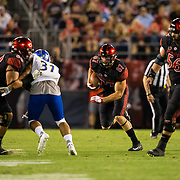 20 October 2018: San Diego State Aztecs tight end Kahale Warring (87) catches a pass for a first down, but the play was called back due to many players in the huddle. The Aztecs beat the Spartans 16-13 Saturday night at SDCCU Stadium.