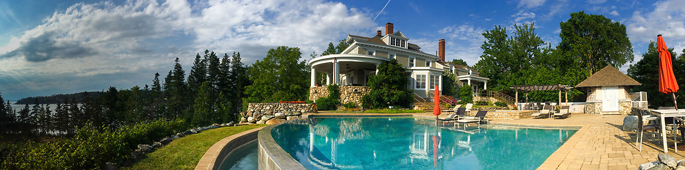 Pool and House, Nautilus Island, Castine, Maine, US