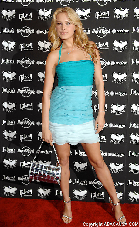 Model Petra Nemcova poses at the Icons of Music II Auction to benefit Music Rising at the Hard Rock Cafe in Times Square New York City, USA on May 31, 2008.