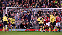 MANCHESTER, ENGLAND - MONDAY SEPTEMBER 20th 2004:  Manchester United's Mikael Silverstre scoring his second goal against Liverpool during the Premiership match at Old Trafford. (Photo by David Rawcliffe/Propaganda)