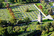 Nederland, Friesland, Gemeente De Friese Meren, 10-10-2014; Joure, Begraafplaats Westermeer met  Kerktoren van Westermeer.<br /> Graveyard in small Frisian town.<br /> luchtfoto (toeslag op standard tarieven);<br /> aerial photo (additional fee required);<br /> copyright foto/photo Siebe Swart
