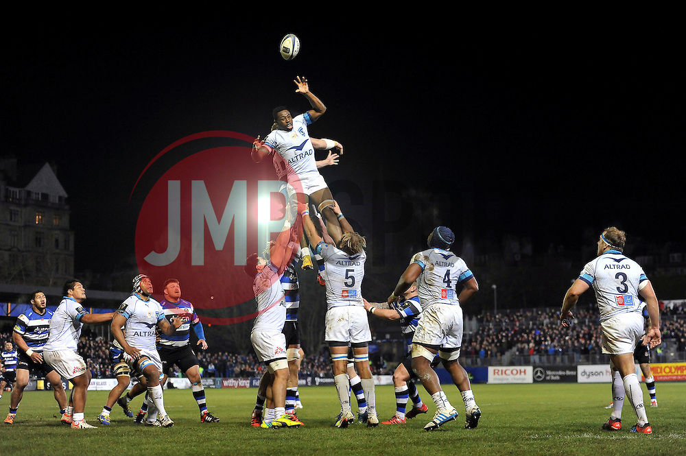 Fulgence Ouedraogo of Montpellier wins lineout ball for his team - Photo mandatory by-line: Patrick Khachfe/JMP - Mobile: 07966 386802 12/12/2014 - SPORT - RUGBY UNION - Bath - The Recreation Ground - Bath Rugby v Montpellier - European Rugby Champions Cup