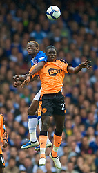 LIVERPOOL, ENGLAND - Sunday, August 30, 2009: Everton's Louis Saha and Wigan Athletic's Mohamed Diame during the Premiership match at Goodison Park. (Photo by David Rawcliffe/Propaganda)