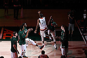 February 8, 2017: Kamari Murphy #21 of Miami is introduced before the NCAA basketball game between the Miami Hurricanes and the Virginia Tech Hokies in Coral Gables, Florida. The 'Canes defeated the Hokies 74-68.