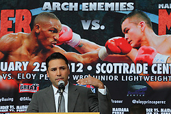 """Feb 23; St. Louis, MO, USA; Promoter Oscar De La Hoya speaks during the final press conference for the February 25, 2012 fight card """"Arch Enemies"""".  Mandatory Credit: Ed Mulholland"""