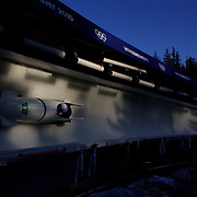 Winter Olympics, Vancouver, 2010.A bobsleigh on track during the Bobsleigh Two man competition at Whistler Sliding Centre, Whistler, during the Vancouver Winter Olympics. 21th February 2010. Photo Tim Clayton