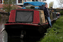 UK ENGLAND LONDON 30APR16 - London Canal boat resident Jo Dunphy on her boat, the 'Driftwood', near Hackney Wick, east London.<br /> <br /> <br /> jre/Photo by Jiri Rezac<br /> <br /> <br /> © Jiri Rezac 2016