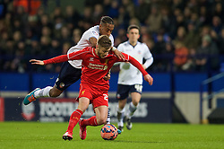 BOLTON, ENGLAND - Wednesday, February 4, 2015: Liverpool's Adam Lallana in action against Bolton Wanderers during the FA Cup 4th Round Replay match at the Reebok Stadium. (Pic by David Rawcliffe/Propaganda)