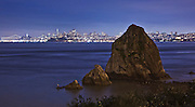 Fort baker is at the base of the golden gate bridge on the marin headlands side. I walked under the bridge for this shot and found these sea stacks as a foreground element.