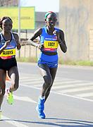 Lucy Cheruiyot (KEN) places 10th in the women's race in 1:11:21 in the Prague Half Marathon in Prague, Czech Republic on Saturday, April 17, 2017. (Jiro Mochizuki/IOS)
