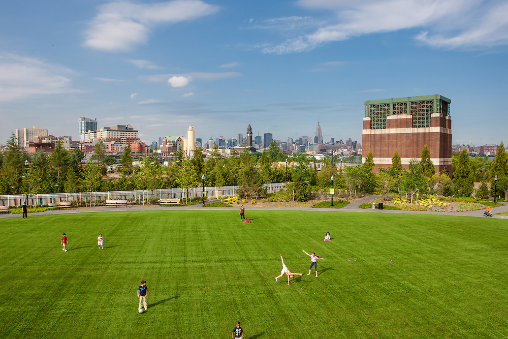 A view of Newport Green park in Jersey City NJ, built by the LeFrak Corporation in the Newport neighborhood.