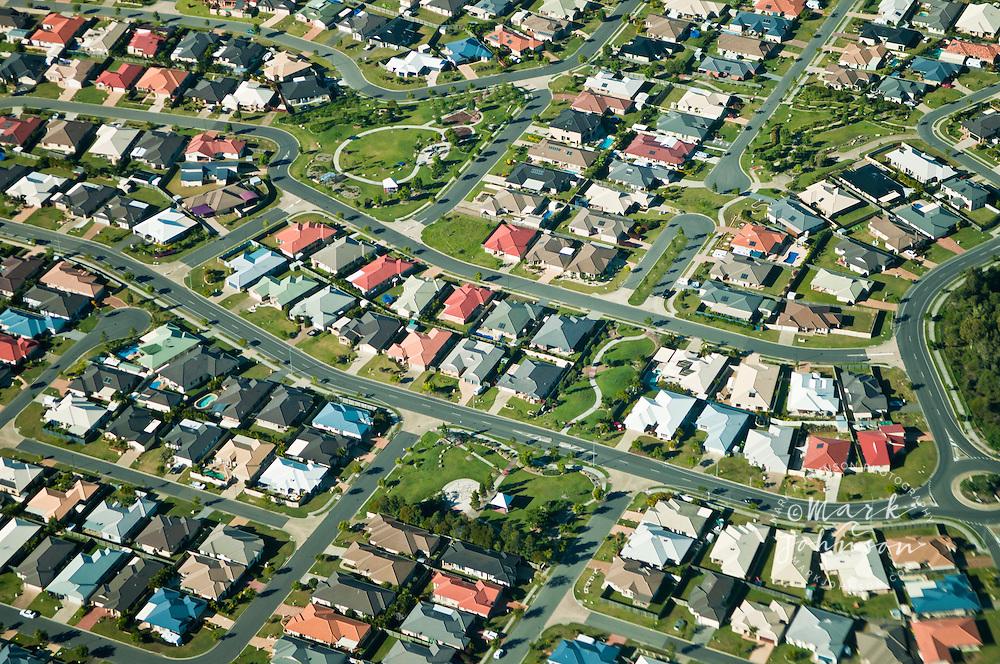 Aerial view of suburbia, Sandstone Pt., Bribie Island, Queensland, Australia