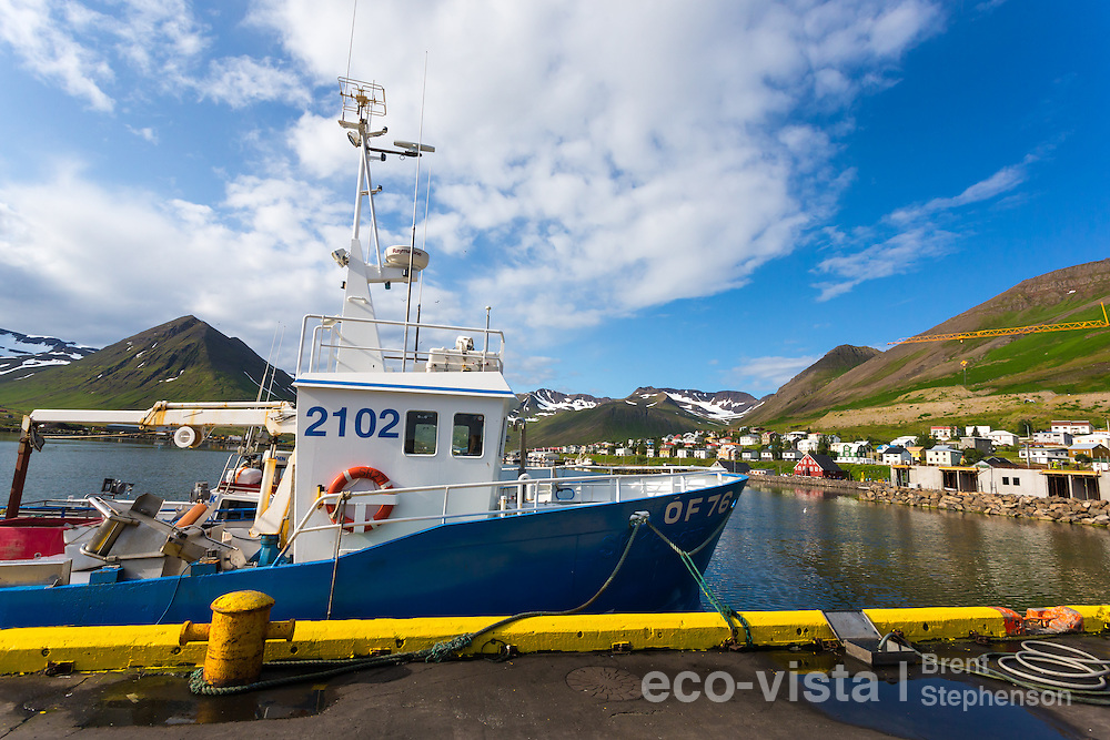 A fishing boat stands alongside the wharf, with the colourful houses of the town in the background. This town was a major Herring port in 1940s and 1950s, and now has an impressive collection of Museums depicting this era. Siglufjordur, Iceland. July.