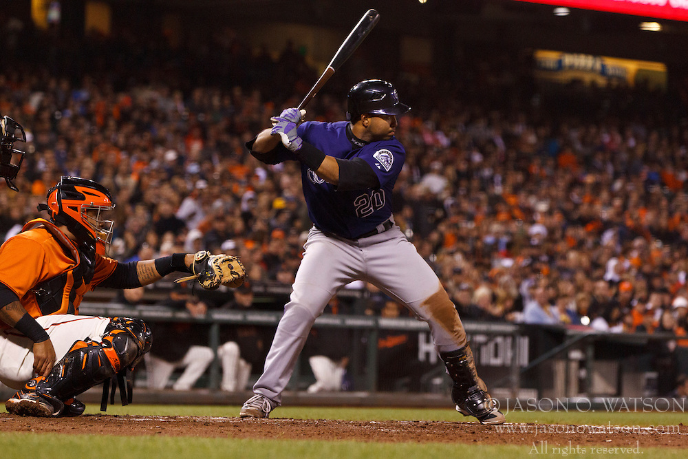 SAN FRANCISCO, CA - AUGUST 10: Wilin Rosario #20 of the Colorado Rockies at bat against the San Francisco Giants during the fourth inning at AT&T Park on August 10, 2012 in San Francisco, California. The Colorado Rockies defeated the San Francisco Giants 3-0. (Photo by Jason O. Watson/Getty Images) *** Local Caption *** Wilin Rosario